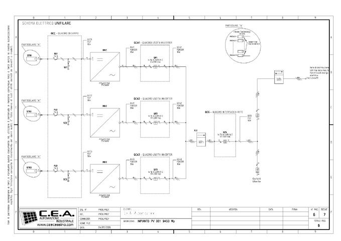 Schemi Elettrici Unifilari Dwg : Schema unifilare impianto fotovoltaico kw fioriera con